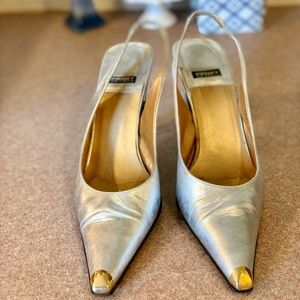 Vintage Proxy Made in Spain silver heels gold toe